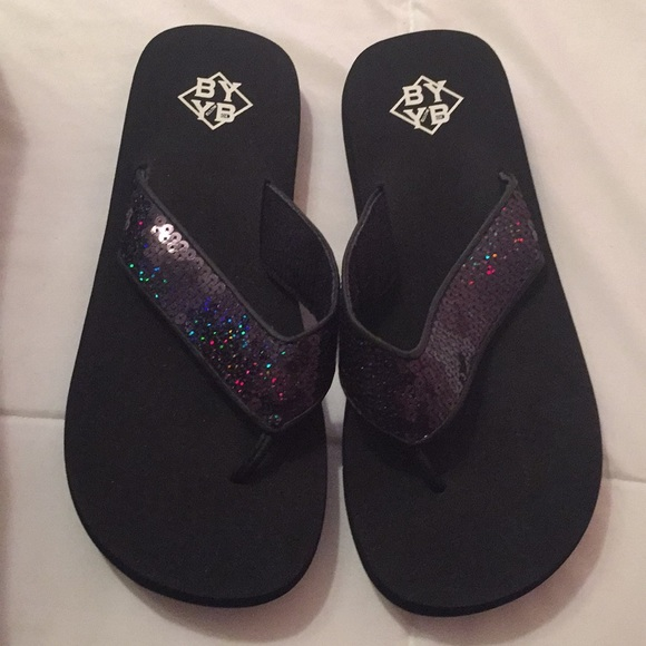 1f125e1a478 Black sandals with multicolor sequins. NWT. BYYB